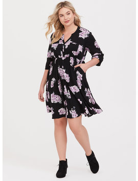 Black Floral Button Front Shirt Dress by Torrid