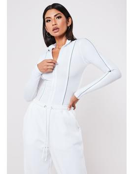 White Piping Zip Through High Neck Bodysuit by Missguided
