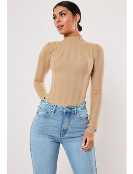 Camel Rib High Neck Knitted Bodysuit by Missguided