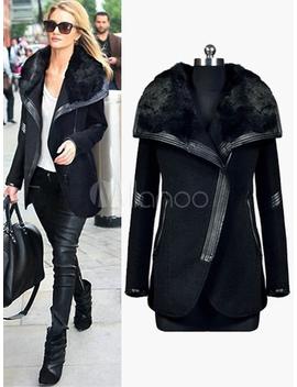 Black Women Coat Faux Fur  Jacket Shearling Coat Zippered Wrap Jacket by Milanoo