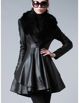 Leather Jacket Women Faux Fur Collar Black Long Sleeve Winter Fit And Flare Coat by Milanoo