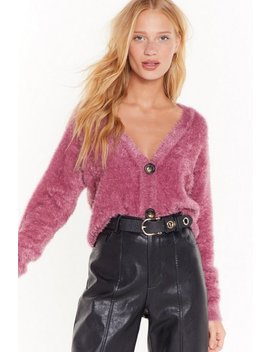 You Talkin' To V Fluffy Knit Cardigan by Nasty Gal