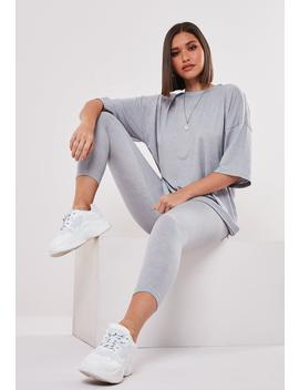 Gray Oversized T Shirt And Leggings Set by Missguided