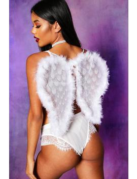 Halloween White Angel Feather Wings by Boohoo