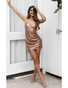 Make My Night Dress In Rose Gold Sequin by Showpo Fashion