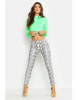 Leather Look Zip Front Snake Pants by Boohoo
