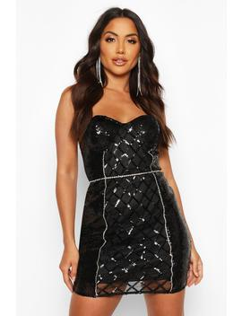 Sequin Diamonte Trim Check Cupped Mini Dress by Boohoo