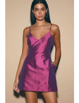 My Desire Bright Purple V Neck Mini Dress by Lulus