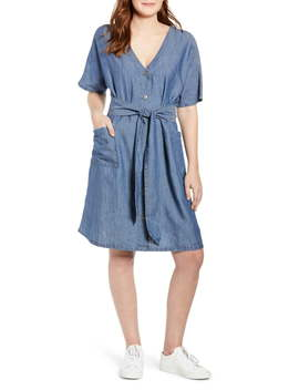 Caslon(R) Button Front Belted Dress (Regular & Petite) by Caslon