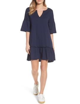 Caslon(R) Ruffle Sleeve Cotton Dress (Regular & Petite) by Caslon