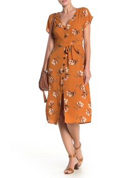 V Neck Cap Sleeve Floral Print Midi Dress by Row A