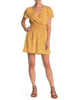 Printed Smocked Waist Romper by Abound
