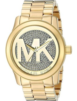 Gold Runway Stainless Steel Pave Crystal Logo Mk5706 Watch by Michael Kors