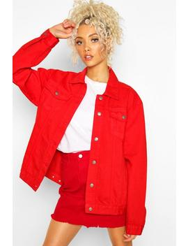 Oversized Red Denim Jacket by Boohoo