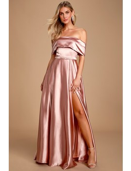 Greatest Hits Blush Pink Satin Off The Shoulder Maxi Dress by Lulu's