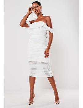 White Ruched Bardot Midi Dress by Missguided