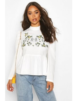 Embroidered High Neck Puff Sleeve Peplum Top by Boohoo