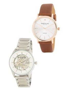 Men's 2 Piece Diamond Leather & Bracelet Watch Set, 40 43mm   0.01 Ctw by Kenneth Cole New York