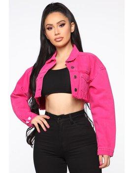 Go Getter Denim Jacket   Neon Pink by Fashion Nova