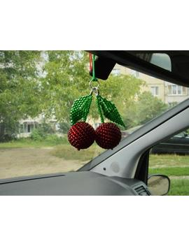 Car Accessories For Women Rear View Mirror Charm Handmade Cherry Fruit Beaded Accessories Car Decor by Etsy