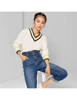 "<Span><Span>Women's Long Sleeve V Neck Cropped Varsity Sweater   Wild Fable Ivory</Span></Span><Span Style=""Position: Fixed; Visibility: Hidden; Top: 0px; Left: 0px;"">…</Span> by Neck Cropped Varsity Sweater"
