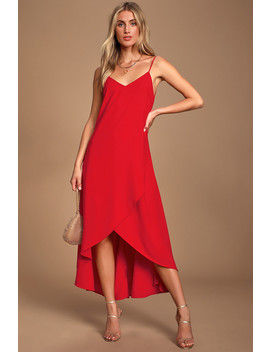 Sweet Surprise Red High Low Maxi Dress by Lulus