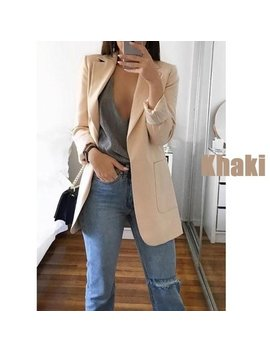 Womens Long Sleeve Open Front Solid Color Long Blazer Cardigan Jackets by Lovaru
