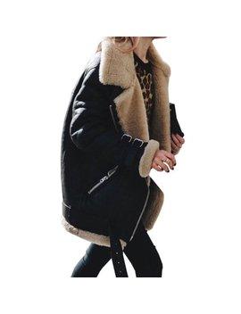 Womens Fleece Fur Biker Aviator Jacket Coat Winter Warm Lapel Outwear Plus Size by Womens Coats & Jackets Shop All
