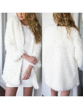 Multitrust Womens Fluffy Shaggy Long Sleeve Fur Cardigan Slim Jacket Coat Outwears Parka by Multitrust