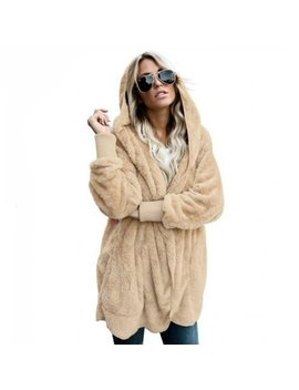 Women Hooded Cardigan Autumn And Winter Warm Faux Fur Coat Women's Jacket Long Sleeve Hooded Overcoat With Pockets (Beige M) by Itopboutique