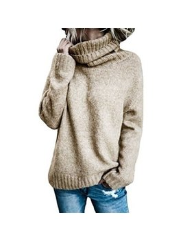 Women's Fashion Casual Knitted Sweater Turtleneck Long Sleeve Solid Pullover Sweater by Issac Live
