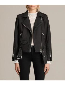 All Saints Willow Leather/Nubuck Biker Jacket Size 10 In Black Bnwt £380 by All Saints