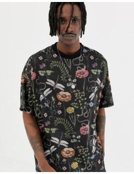 Asos Design – Oversize T Shirt Mit Blumenmuster Und Libellenmotiv by Asos