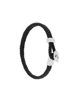 Micro Skull Leather Braided Bracelet by Northskull