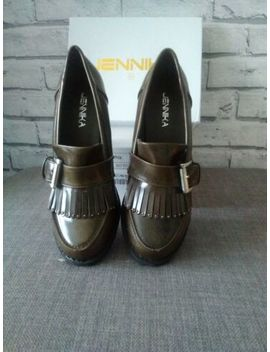 Jennika Khaki Block Heel Chunky Shiny Shoes Loafer Fringe Uk 5 / 38 Heels Smart by Ebay Seller