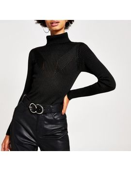 Black Ribbed Knit Roll Neck Top by River Island