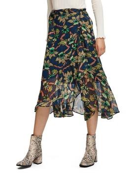 Metallic Stripe Floral Wrap Midi Skirt by Scotch & Soda