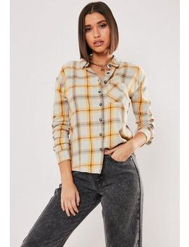Grey Slim Brushed Check Print Shirt by Missguided