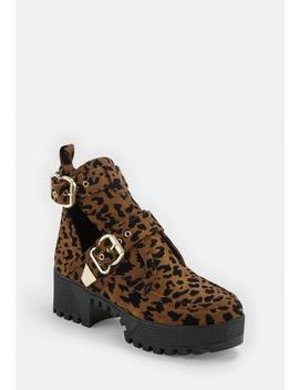 Brown Leopard Print Double Buckle Cleated Sole Ankle Boot by Missguided