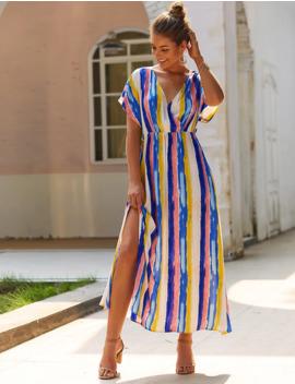 Striped Print Split High V Neck And Back Dress by Sheinside