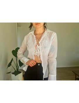 Vintage White Cotton Blouse // Tie Up Detail Y2k 90s by Etsy