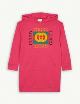 Logo Print Hooded Cotton Dress 4 10 Years by Gucci