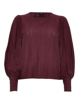 Petite Red Broderie Long Puff Sleeve Top by River Island