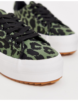 Park Lane Flatform Sneakers In Green Leopard by Asos