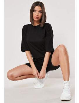 Petite Black Oversized T Shirt Cycling Short Co Ord Set by Missguided