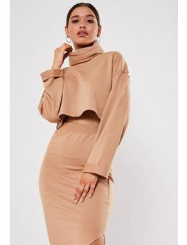 Camel Co Ord Cowl Neck Crop Top by Missguided