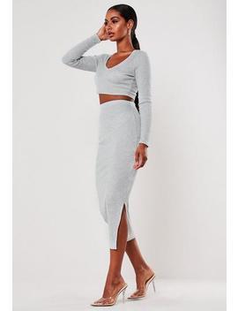Grey Co Ord Rib Midi Skirt by Missguided