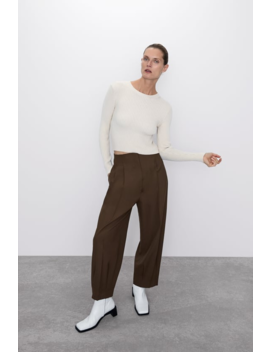 Ribbed Cropped Sweater Editorial The Minimal Knitwear Woman by Zara