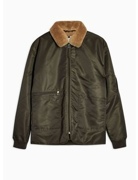 Khaki Borg Collar Jacket by Topman