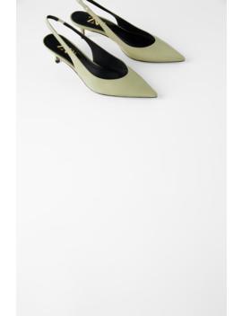 Leather Mid  Heel Slingbacks  by Zara